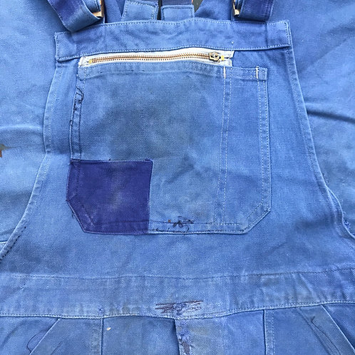 Faded Mended Moleskine Short Dungarees - Small