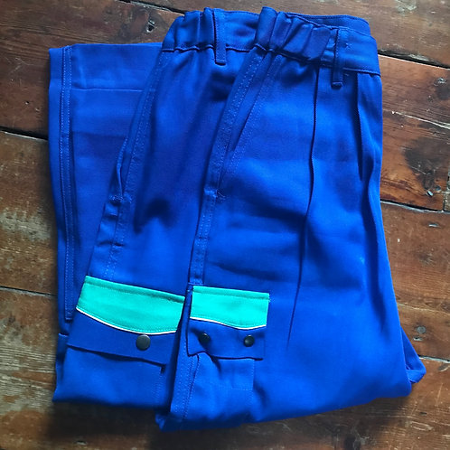 "Blue and Green Workwear Trousers. 31"" Waist - 31"" Length"