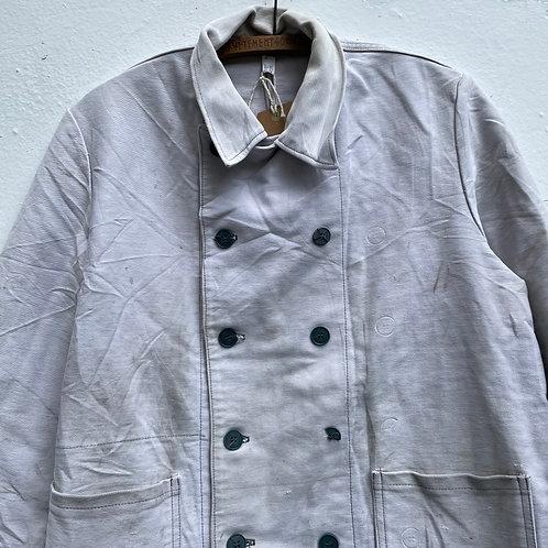 White Double Breasted Moleskin Jacket Medium