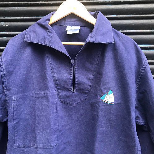 Faded Blue Smock - Embroidered Boat - Small