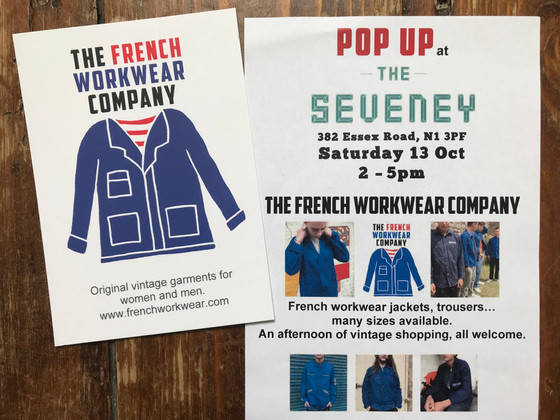 French Workwear Pop Up Sale at The Seveney Essex Road N1 Saturday 13 October
