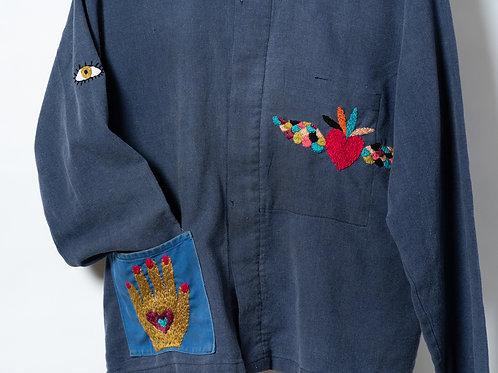 Becky Baur Embroidered Hand and Heart Jacket Medium