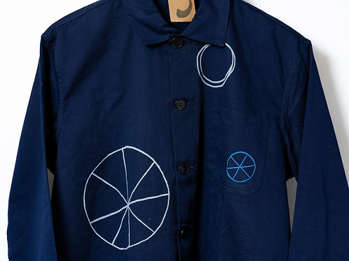Jenni Allen Wheels & Circles Dark Blue Jacket Medium