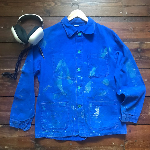 Paint Stained Blue Workwear Jacket Green Buttons M/L