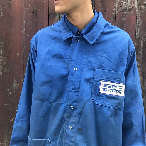 XL French Blue Workwear Jacket. Stud Buttons Worn Stained