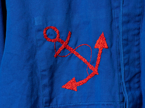 Large Red Anchor Blue Jacket