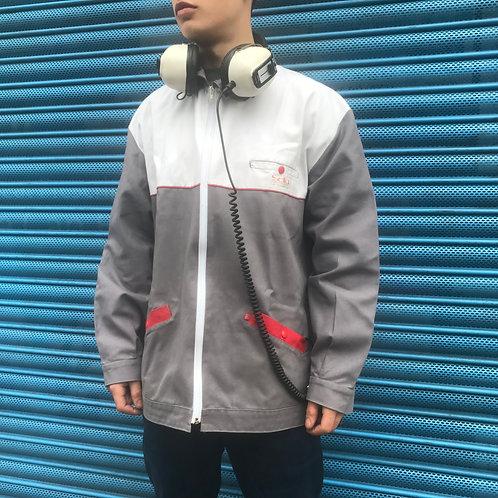 XL French Workwear Jacket. Zipped Grey and White