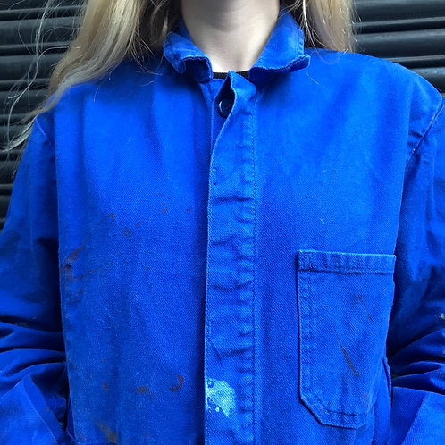 Paint Stained Blue Workwear Jacket Small