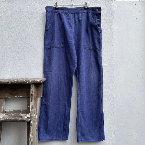 Sailor Style Workwear Light Cotton Trousers 35W 28L