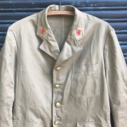 Light Brown Antique French Postman Jacket - Small