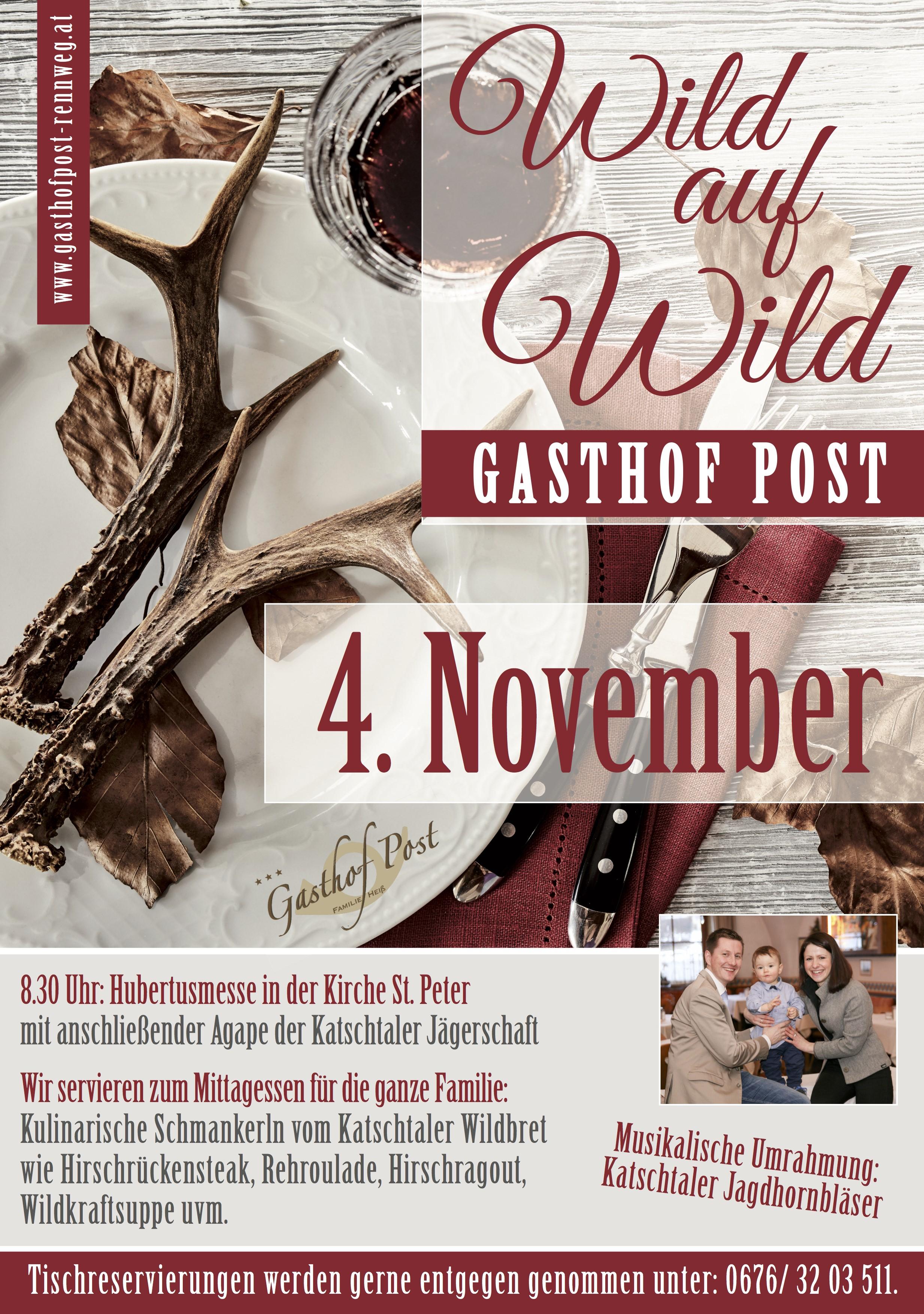 Wild Auf Wild Am 04 November Gasthof Post Der Familie Heiß