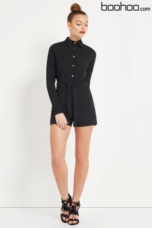 Next Boohoo Ribbed Shirt Style Playsuit