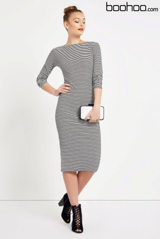 Next Boohoo Roll Neck Stripe Midi Bodycon