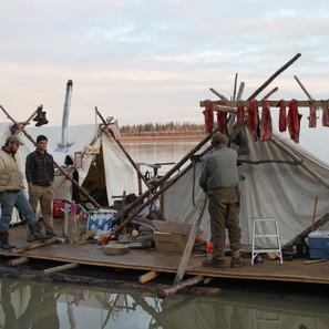 Salmon hang to dry