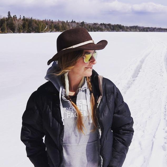 Tracks on a northern lake