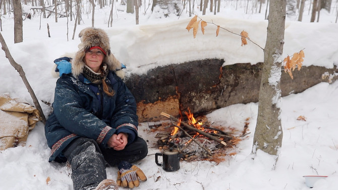 Fire & cocoa in a snowstorm