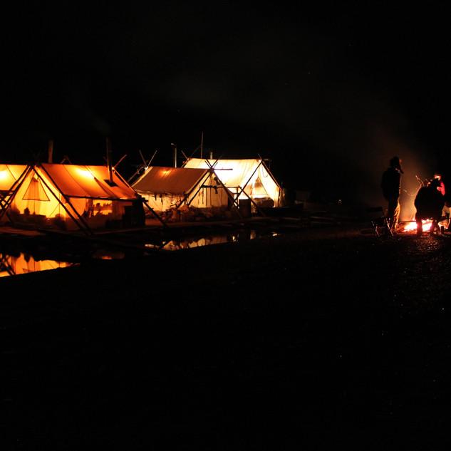 Yukon River campfire and log raft