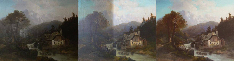 Krajina 19. století - postup odstraňování starého ztmavlého laku