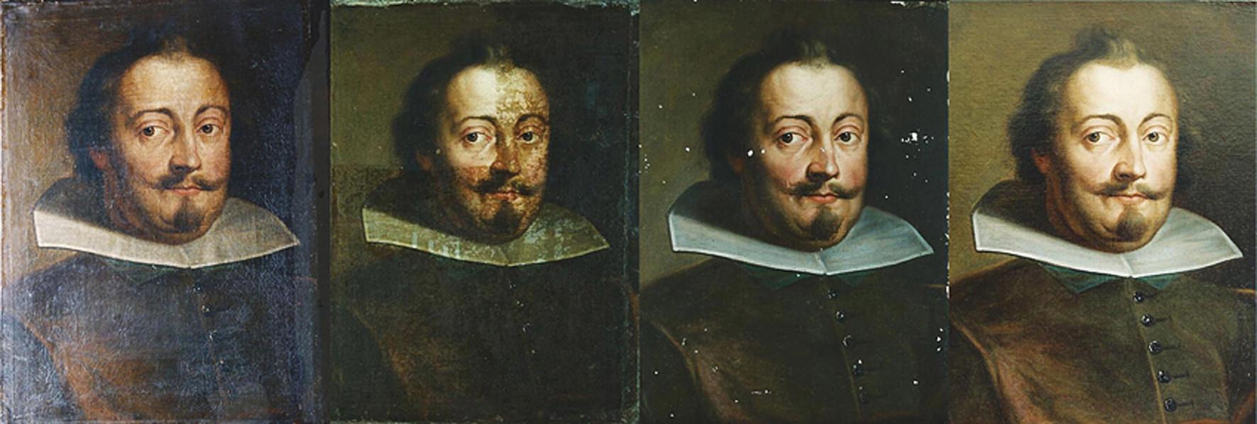 Portrét šlechtice 18. století: 1. stav před restaurováním, 2. postupné snímání ztmavlých laků, 3. stav po vytmelení defektů v barevné vrstvě, 4. závěrečný stav po retuši a zalakování obrazu.