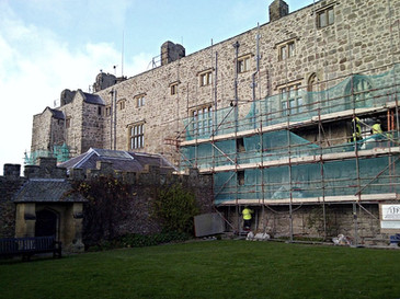 The rubble stone facade of this castle in the care of the National Trust was raked out and deep-pointed to consolidate and weatherproof the structure.