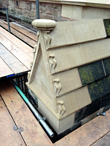 An example of replacement stone carving at Hereford Cathedral.