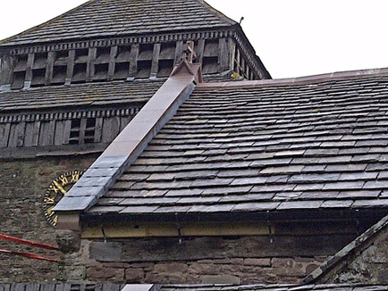 Salvaged and reclaimed stone slates have been fitted to this historic church.
