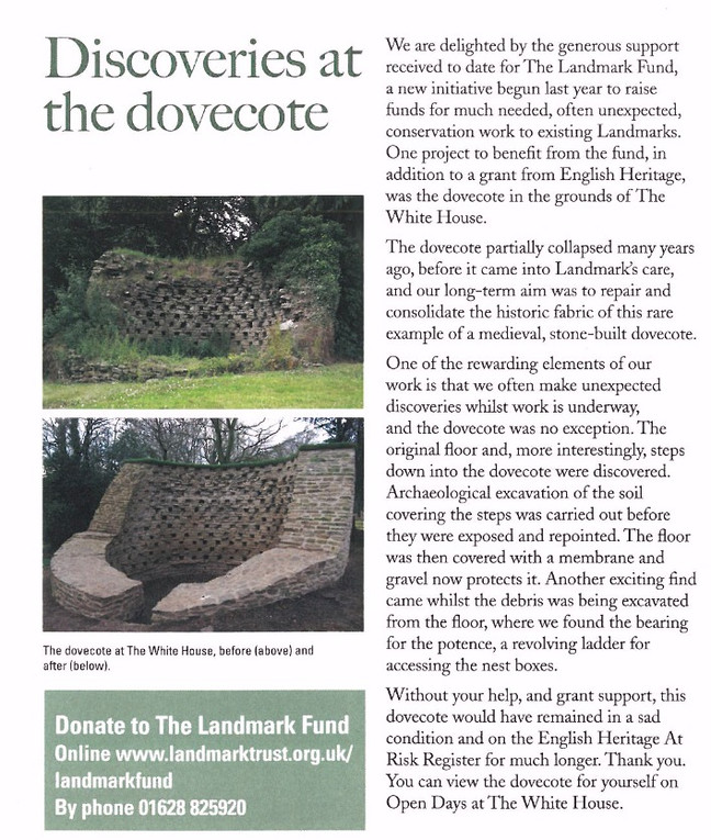 Click to read The Landmark Trust article on  restored dovecote.