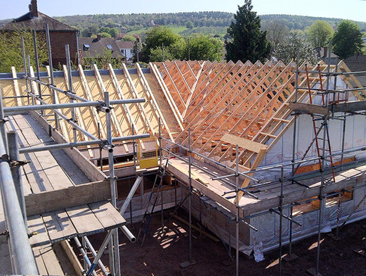 A modern timber frame construction for a new build.