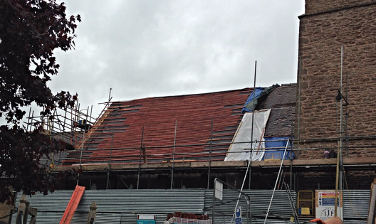 Here you can see re-roofing in progress.
