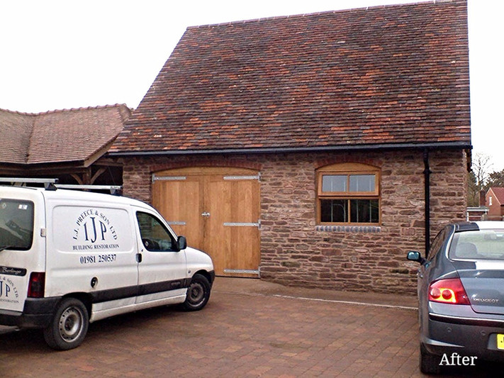 Reclaimed, traditional clay tiles are in keeping with the building's conversion.