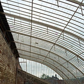 The curved roof after each pane of glass had been carefully refitted.
