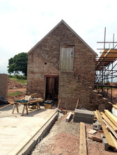 Foundations laid for the single storey barn which joined onto the end of the main barn through the ground floor doorway.
