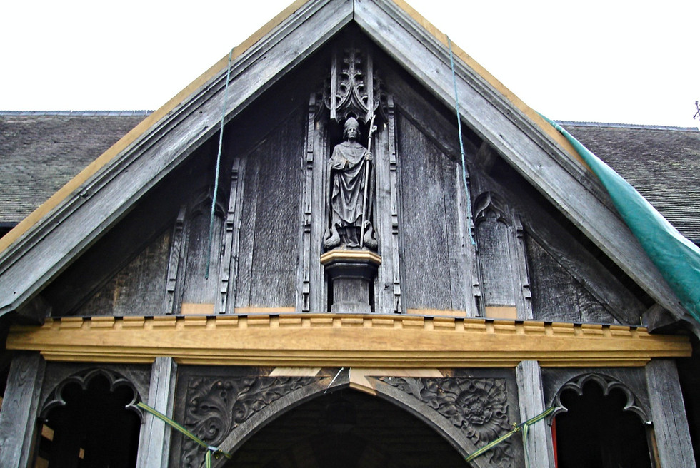 The repaired carving on the porch in all its glory.  The new wood will dull over time and become a more silver colour to blend in with the original feature.