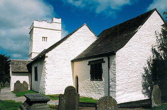 The limewashed church.