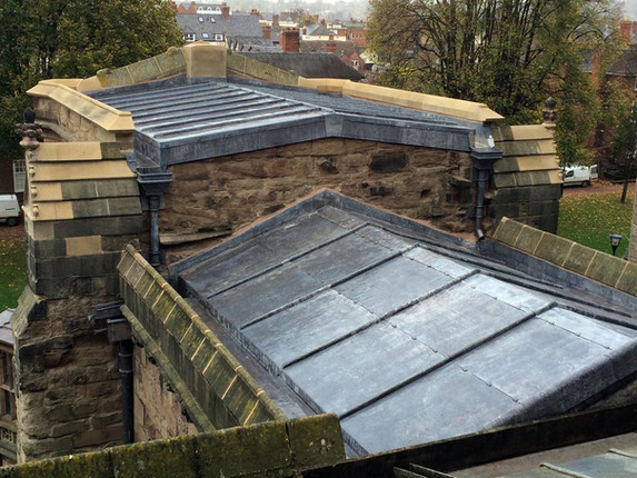The completed lead roof and parapet repairs on this section of Hereford Cathedral.