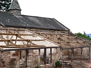 View of one of the barns early in the project.