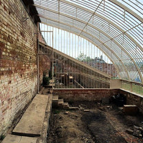 A view from the inside of the curved section of the glasshouse.