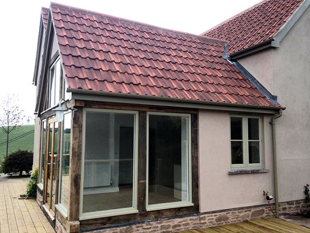 The completed timber and glass extension.