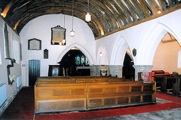 Here you can see the original timbers that formed the vaulted ceiling of the church.
