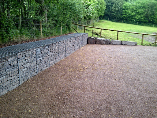 A view of the gabions retaining the land behind.