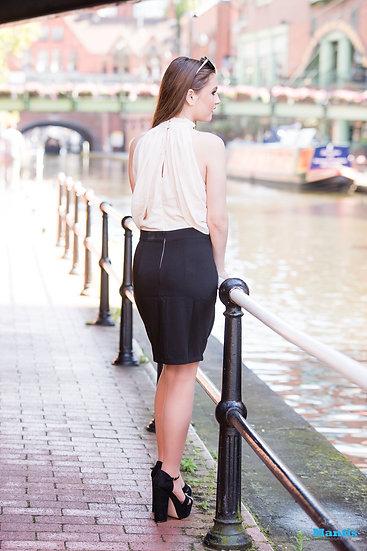 Cream & Black Dress - Small