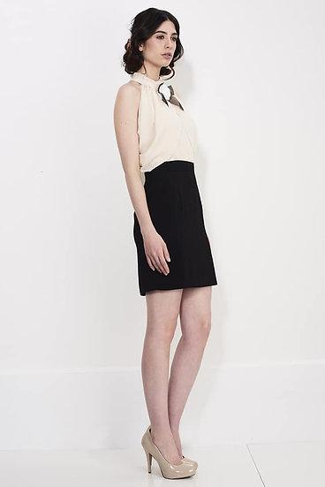 Cream & Black Dress - Extra Small