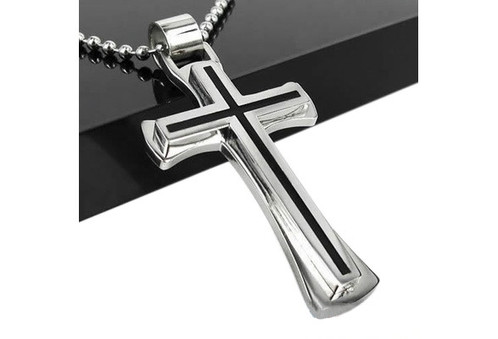 Cool black silver stainless steel cross pendant chain necklace aloadofball