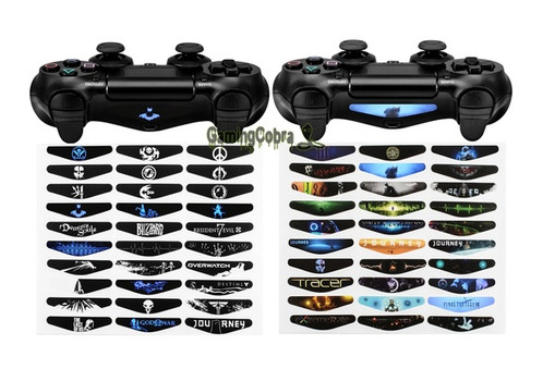 Led light bar decal sticker for ps4 controller gamer set 3 designed for covering led light bar on your ps4 controller they have shapes so some of the light goes through revealing the shape of the image on the aloadofball