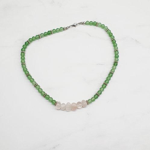 Collar Cuarzo Verde y Rosa