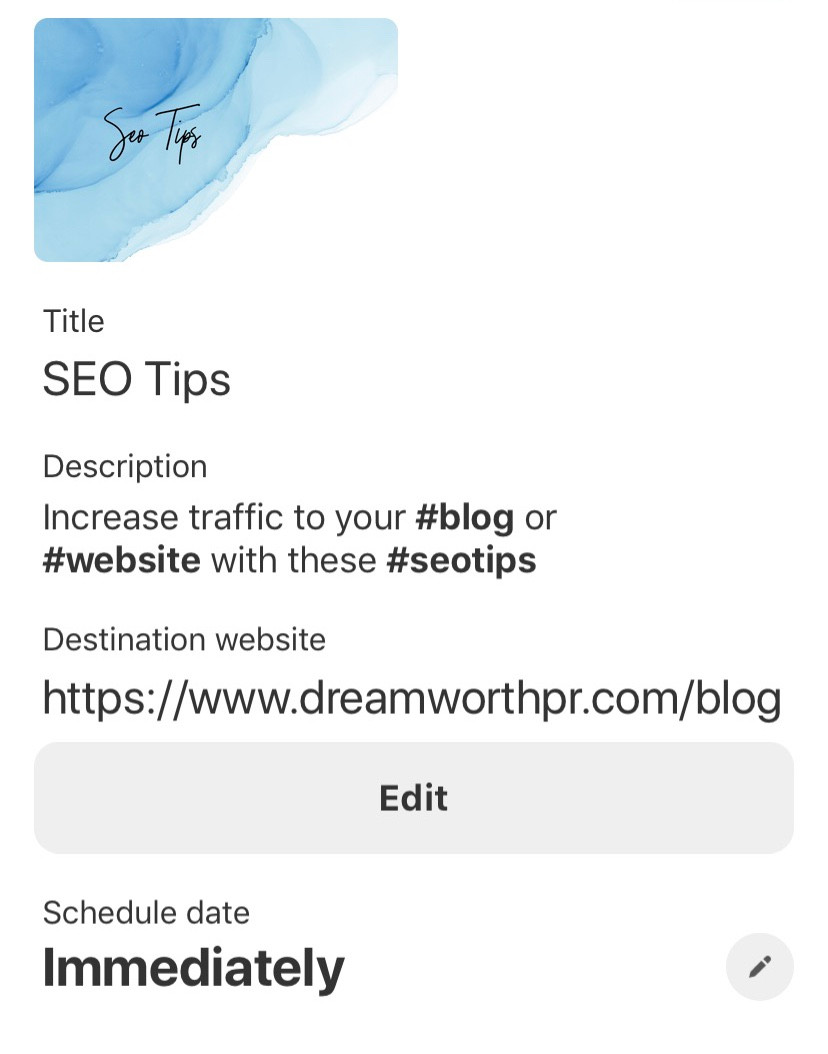 Dreamworth Public Relations SEO tips board description