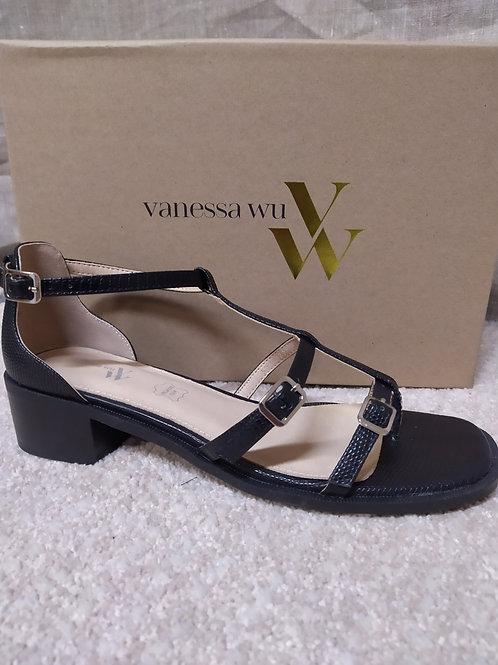 Sandale noires à brides réglables Vanessa Wu