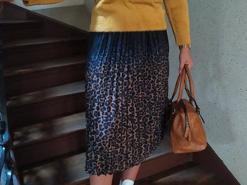 Jupe plissée motif léopard nü