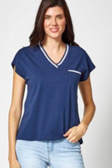 Tee shirt marine col V MD'M