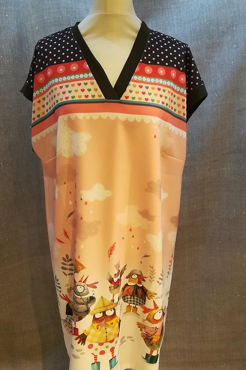 JAPON - Robe en crêpe Thème Cocottes Anatopik